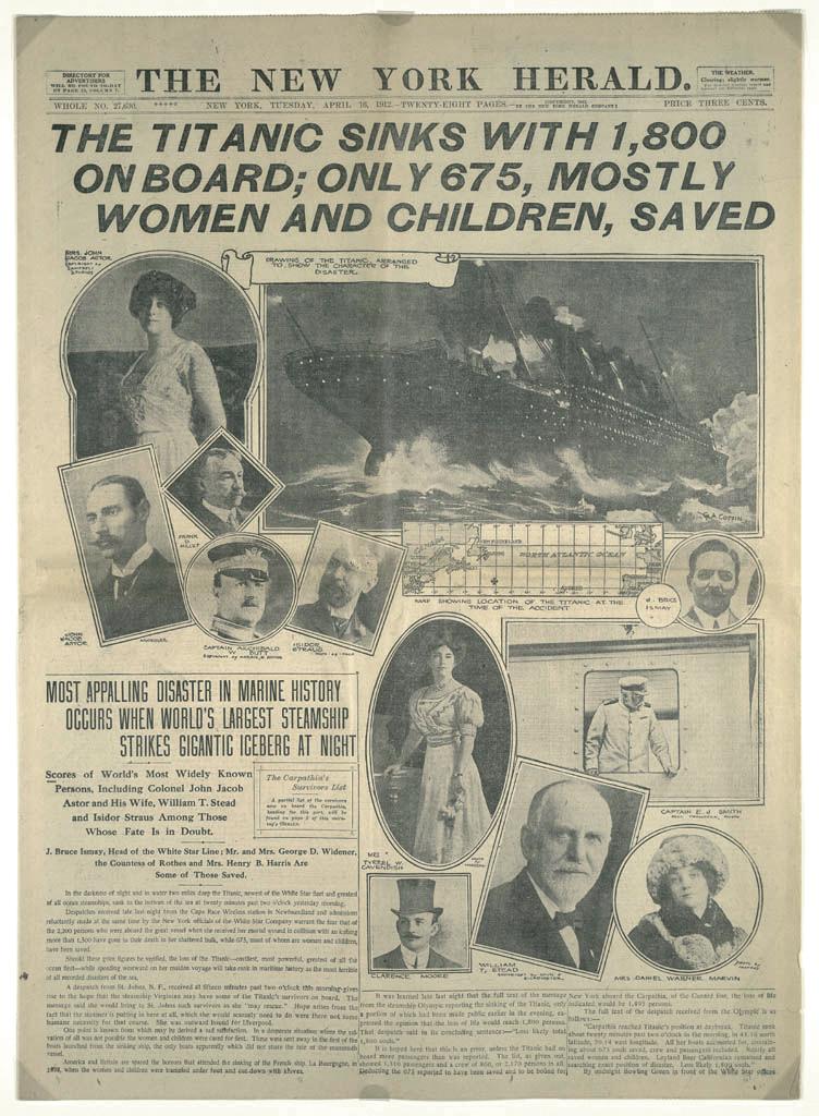 Титаник. New York Herald титульная страница