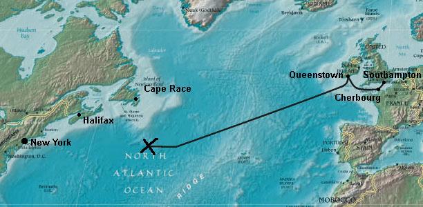 Титаник - место катастрофы