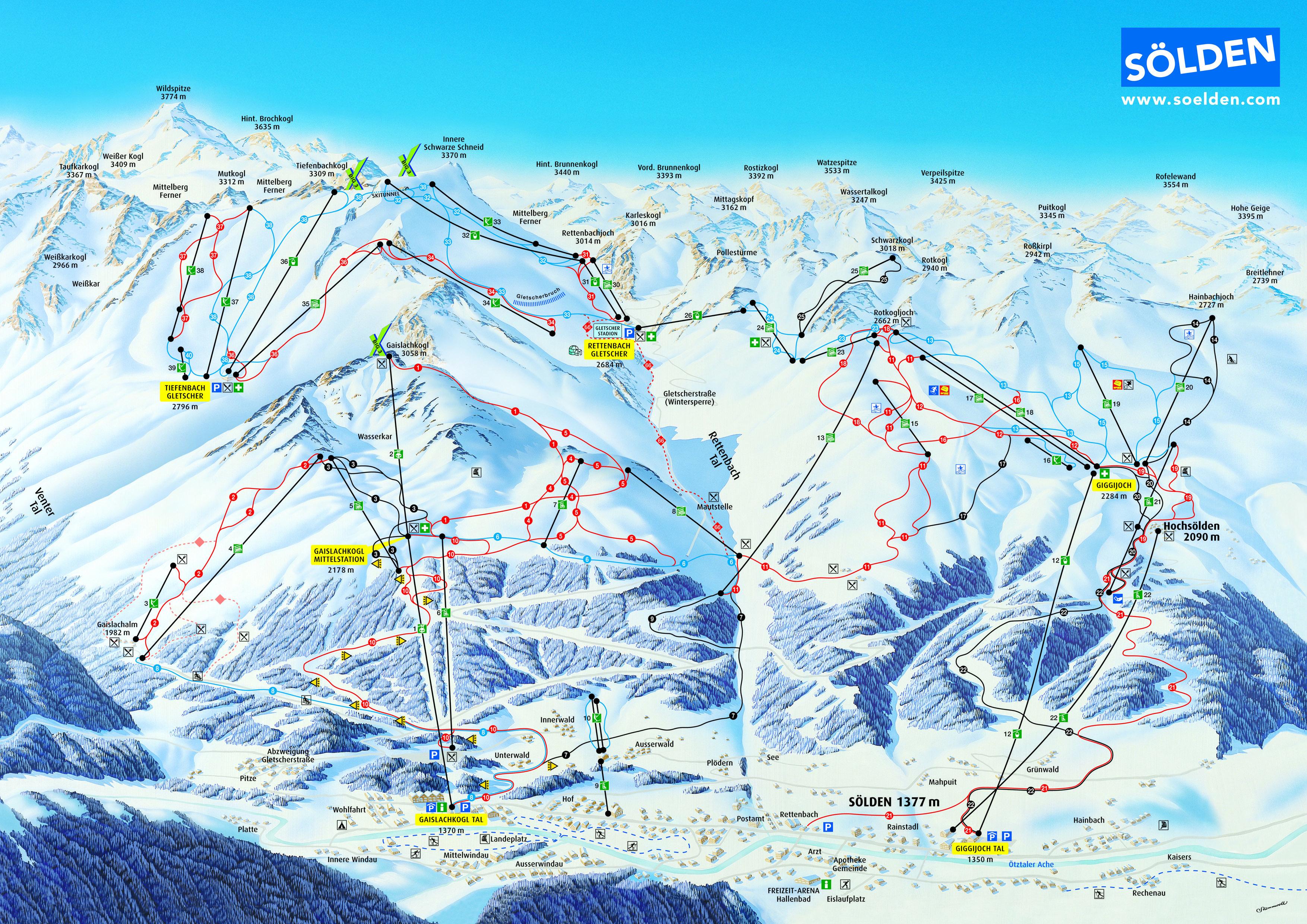 План лыжных трасс в Зёльден. Soelden