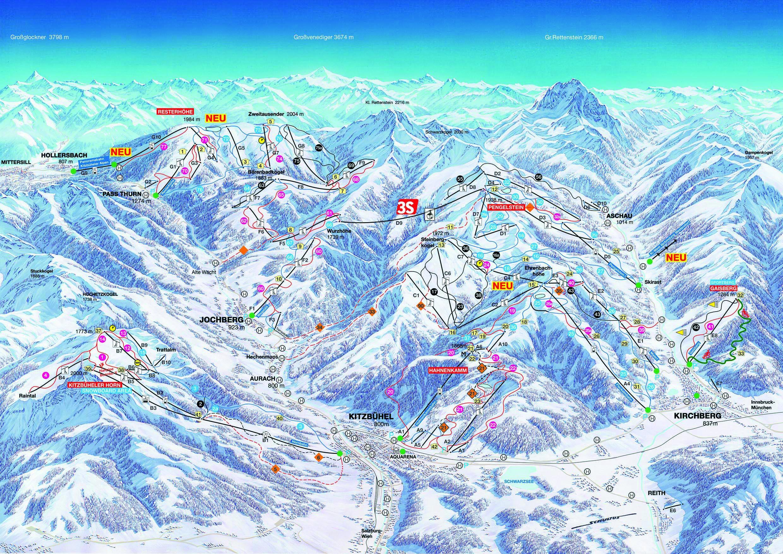 План лыжных трасс в Китцбюэль. Kitzbuehel