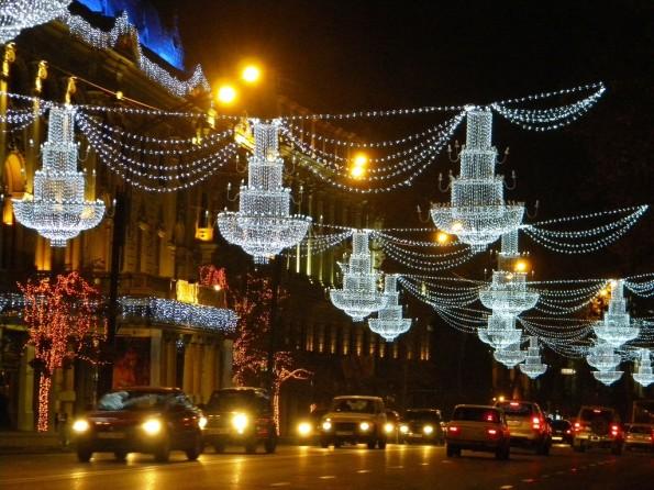 Проспект Шота Руставели в Новогоднюю ночь